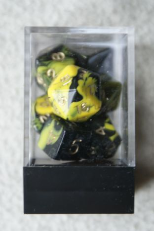 APF DICE-SET-15D (D4, D6, D8, D10, D10/00, D12 & D20) Oblivion Poly Dice Set Yellow